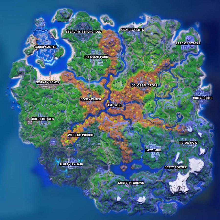 La nuova mappa di Fortnite nel Capitolo 2 Stagione 6. Il deserto ora è una foresta.